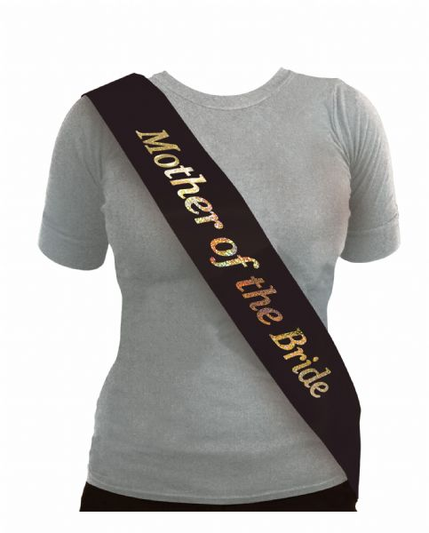 Black & Silver Mother of The Bride Sash